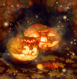 Two Halloween pumpkins Royalty Free Stock Photography