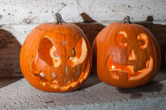 Two halloween pumpkins from Budapest Pumpkin Festival 2015. Halloween pumpkin from Budapest pumpkin festival at  Heroes Square, October 2015 Stock Photography
