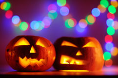 Two Halloween pumpkins head jack lantern Stock Photo