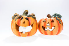 Two halloween pumpkins isolated on white Royalty Free Stock Image