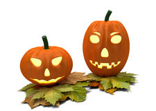 Two halloween pumpkins isolated on white Royalty Free Stock Photos