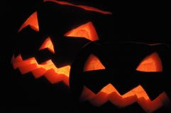 Two halloween pumpkins - Jack O Lanterns Stock Photos