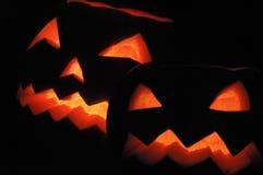 Two halloween pumpkins - Jack O Lanterns stock photos