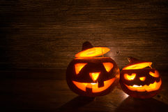 Two Halloween Pumpkins on Old Wood Stock Photography