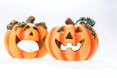 Two halloween pumpkins  on white Stock Photo
