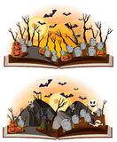 Two halloween scenes at graveyard. Illustration Stock Image