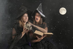Two halloween witches on dark background Stock Photography