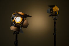 Two halogen spotlights with Fresnel lenses Stock Photos