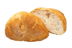 Two halves of appetizing bread.Isolated. Stock Photo