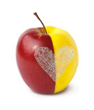 Two halves become one (Clipping path included). Two halves of apples merged together as a whole with silver heart on white background (Clipping path included Royalty Free Stock Images