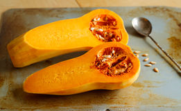 Two halves of a Butternut Squash Royalty Free Stock Images