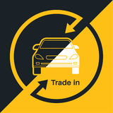 Two halves. Of the car with an exchange arrow index on a yellow and black background. Concept get prettier transactions it is made with the vehicle. A vector Royalty Free Stock Photography