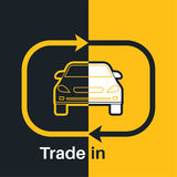 Two halves. Of the car with an exchange arrow index on a yellow and black background. Concept get prettier transactions it is made with the vehicle. A vector Stock Images
