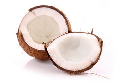 Two halves of coconut Stock Photo