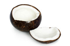 Two halves of coconut Royalty Free Stock Photo