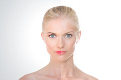 Two halves of a cream treatment Royalty Free Stock Image