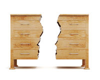 Two halves of dresser isolated on white background. 3d rendering Royalty Free Stock Photos