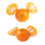 Two halves and fresh juicy tangerine fruit isolated over the white background Stock Photography