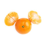 Two halves and fresh juicy tangerine fruit Stock Photography