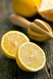 Two halves of fresh lemon stock images