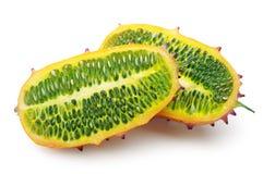 Two halves of fruit Kiwano Royalty Free Stock Image
