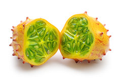 Two halves of fruit Kiwano Stock Photo