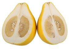Two halves of fruit pomelo lie nearby Royalty Free Stock Photography