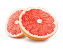 Two halves of grapefruit isolated on a white background Stock Images