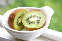Two halves of green kiwi Royalty Free Stock Photo