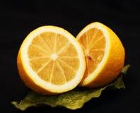 Two halves of lemon. On a black background stock image