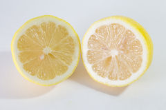 Two Halves Lemons. On a white background stock photos