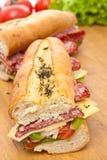Two Halves of Long Baguette Sandwich Stock Photo