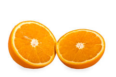 Two halves of an orange. On a white background royalty free stock photos