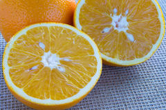 Two halves of orange closeup. Two halves of orange close-up royalty free stock photo