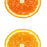 Two halves of orange. On a white background royalty free stock photo