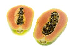 Two halves of a papaya Stock Image