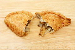 Two halves of a pasty Royalty Free Stock Photo