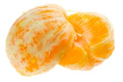 Two halves of peeled orange Stock Images