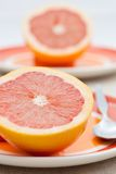 Two halves of pink grapefruit Stock Photo