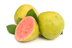 Two halves pink guava. Fresh guava  on a white background Royalty Free Stock Photo