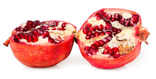 Two halves of pomegranate on white background Royalty Free Stock Photos
