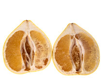 Two halves of pomelo isolated on white background Stock Photo