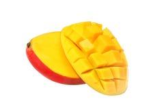Two halves of red mango Stock Photos