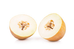 Two halves of ripe melons royalty free stock photography