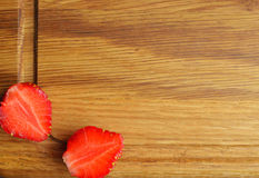 Two halves of strawberries Royalty Free Stock Image