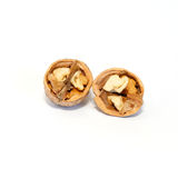 Two halves of walnut. Stock Photos