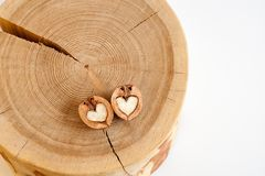Two halves of walnut in shape of heart on wooden stump on white stock image