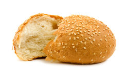 Two halves of wheat bread isolated Stock Photos