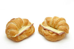 Two Ham Cheese croissants Royalty Free Stock Images
