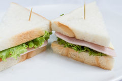Two ham and cheese sandwich Stock Images